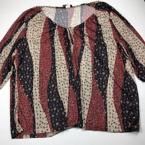 Women's plus size fall 3/4 sleeve blouse 3x EUC